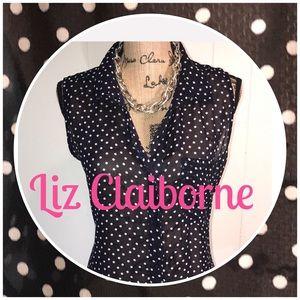 Liz Claiborne Sleeveless Navy/White PokaDot Blouse